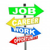 The words Job, Career, Work and Opportunity on colorful road signs with arrows pointing to new oppor