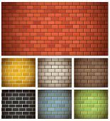 stock photo of stonewalled  - Different color brick textures collection - JPG