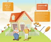 Colorful template for advertising brochure with cartoon old people in front of a house in green park