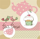 stock photo of recipe card  - vector illustration of tea party set - JPG