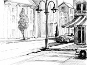 stock photo of freehand drawing  - Retro city sketch - JPG