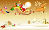 picture of sleigh ride  - illustration of Santa Claus riding in sledge with Christmas gift - JPG