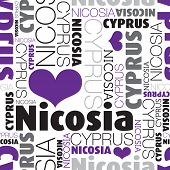 I love Nicosia Cyprus seamless typography background pattern in vector