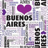 Me encanta el patrón de fondo de tipografía transparente Buenos Aires Argentina en vector