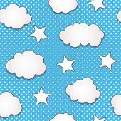 Cute clouds seamless pattern, raster version