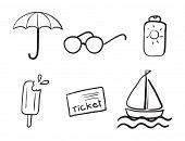 dibujos detallados de varios objetos en un blanco