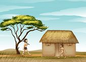 illustration of mens and a house in a beautiful nature