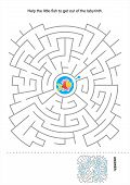 stock photo of school fish  - Maze game for kids - JPG