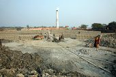 SARBERIA,INDIA, JANUARY 16:A Brickfield is a large area, used for manufacturing bricks from mud, cla