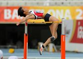 BARCELONA - JULY, 13: Midori Kamijima of Japan jumping on Hight jump event of of the 20th World Juni