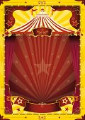 stock photo of school carnival  - yellow big top circus poster - JPG