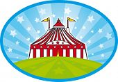 carnival tent. A big top with stars in the sky