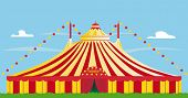big top. yellow and red big top
