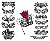 foto of comedy  - set of isolated carnival masks - JPG