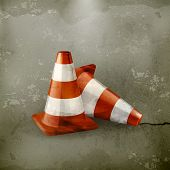 Traffic cone, icon old-style vector