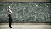 stock photo of business class  - Business person standing against the blackboard with a lot of data written on it - JPG