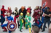 LONDON, UK - OCTOBER 27: Marvel superheroes posing at the London Comicon MCM Expo. Most participants