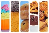 a collage of of different pastries and sweet food, such as cupcakes, panettone, churros con chocolate and panellets