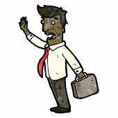 Cartoon acenando freneticamente do empresário