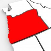 A red abstract state map of Oregon, a 3D render symbolizing targeting the state to find its outlines