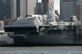 NEW YORK - NOV 1: The Space Shuttle Enterprise lays on the USS Intrepid on November 1, 2012 in New Y