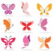 Set Of Butterfly Icons