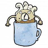 doughnut in hot coffee cartoon