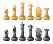 Black and white chessmans