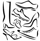 Set Of Shoes Sillhouettes, Vector Sketch In Simple Lines