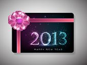 Happy New Year celebration gift card with pink ribbon. EPS 10.
