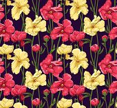 Floral seamless pattern stylized like watercolor art