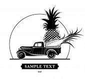 Retro pickup with pineapples. Vector illustration in the engraving style, can be used for design labels and package
