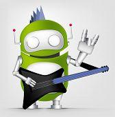 Постер, плакат: Мультфильм характер милый робот изолированные на серый градиент фона Гитарист Вектор EPS 10