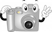 Mascot Illustration Featuring a Digital Camera Making a Pose