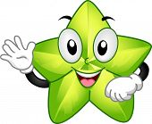 Mascot Illustration Featuring a Starfruit Waving