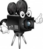 Mascot Illustration Featuring a Video Camera with Reels of Tape Mounted on Top
