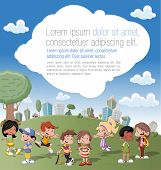 Colorful template for advertising brochure with a group of cute happy cartoon kids  playing in green park on the city
