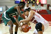 NEW YORK-NOV 3: Farmingdale Rams forward Siohban Purvis (14) and St. John's Red Storm forward Mallor