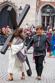 BrUGES, BELGIUM - MAY 17: Annual Procession of Holy Blood on Ascension Day. Locals perform  dramatizations of Bible event - Jesus carries cross to Golgotha. May 17, 2012 in Bruges (Brugge), Belgium