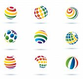 Abstract Globe Multicolor Icons
