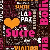 Me encanta el patrón de fondo de tipografía transparente de Bolivia La Paz Sucre en vector
