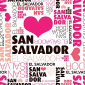 I love San salvador el Salvador seamless typography background pattern in vector