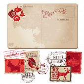 Vintage Christmas Postcard and Stamps - for design, invitation, congratulation, scrapbook - in vecto