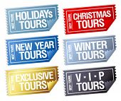 Holidays tours stickers in form of tickets.