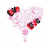 Stylized valentine heart on white background