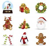picture of poinsettia  - Christmas icons set - JPG