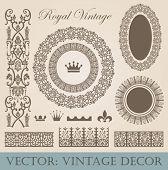 Vintage elements pack. Frames, Borders, Decor. High detail vector.
