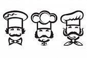 monochrome illustration of three chefs
