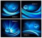 Set of business elegant abstract backgrounds with globe. Vector illustration