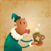 Man Caught A Cold And Drinks Hot Tea | Layered EPS10 Vector Illustration